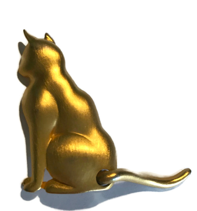 Brushed Gold Cat Brooch with Moving Tail circa 1980s