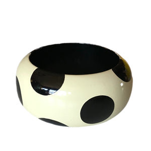 Black and White Op-Art Polka Dot Wide Bangle Bracelet circa 1980s