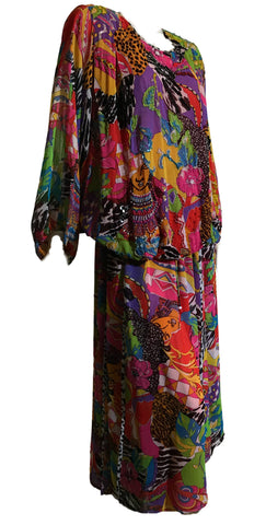 Diane Freis Iconic Beaded and Sequined Geometric Shapes and Faces Chiffon 2 Pc Dress circa 1980s