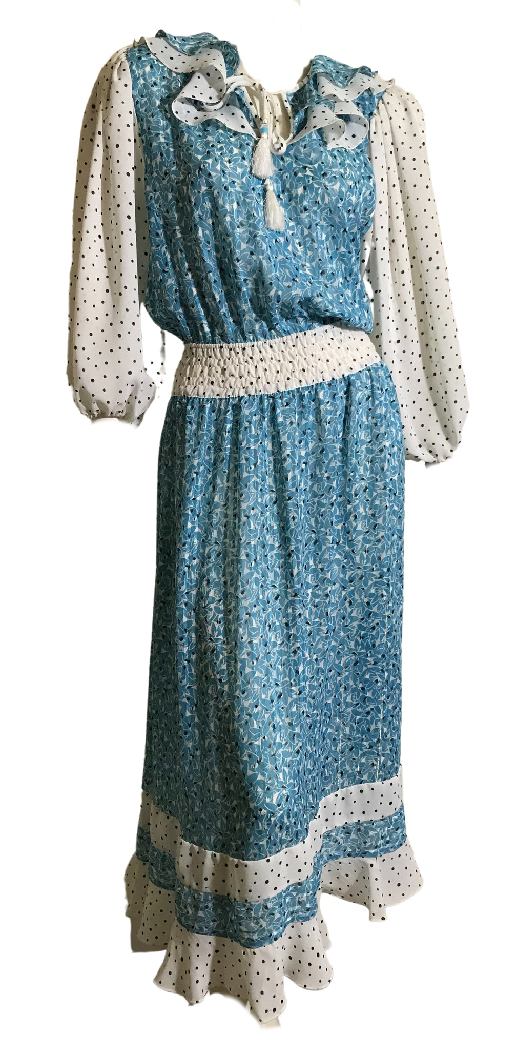 Diane Freis Turquoise Blue Polka Dot and Abstract Print Chiffon Dress circa 1980s