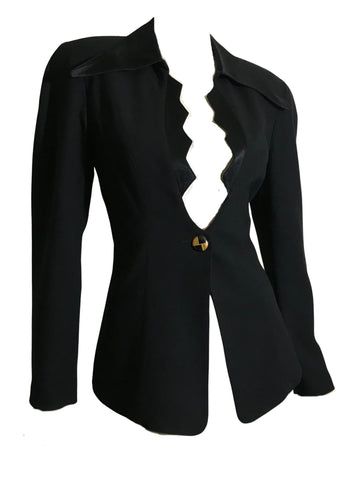 Mugler Style Bat Wing Neckline Satin and Wool Nipped Waist Black Jacket circa 1990s