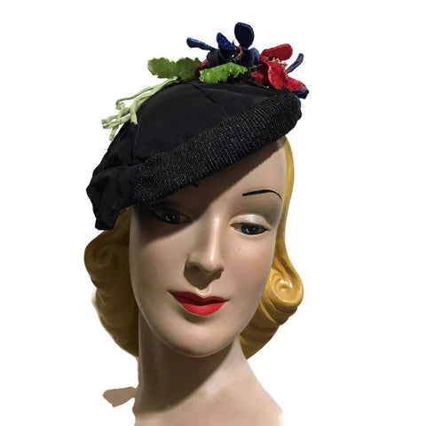 Black Faille Rayon and Sisal Braid Angled Hat with Velvet Flowers circa 1930s