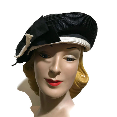 Black and White Sisal Sculpted Nautica Inspired Hat circa 1960s