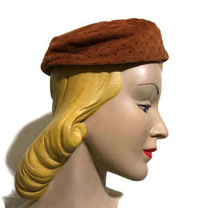 Steel Bead Dotted Tiny Pill Box Hat Cinnamon Velvet circa 1960s