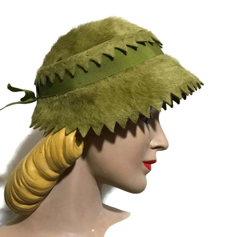 Sage Green Shaggy Felted Wool Hat w/ Sawtooth Edge circa 1960s