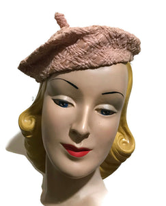 Palest Rose Pink Raffia Weave Beret Hat with Stem circa 1930s