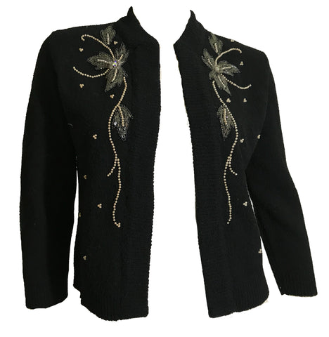 Black Knit Open Front Beaded Cardigan with Rhinestones circa 1940s