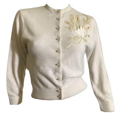 Satin Cutwork Floral Accented Ivory Cardigan Sweater circa 1950s