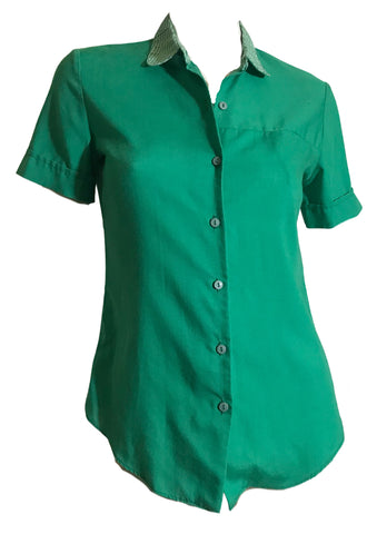 Kelly Green Rayon Blouse with Gingham circa 1960s