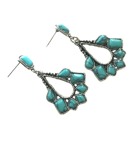 1940s Style Collection Southwestern Silver Tone Pierced Dangle Earrings Faux Turquoise Stones