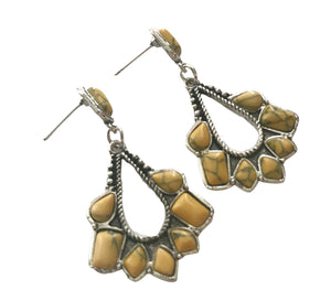 1940s Style Collection Southwestern Silver Tone Pierced Dangle Earrings Yellow Stones