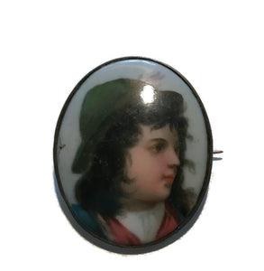 Painted Porcelain Portrait Brooch Tyrolean Boy circa 1890