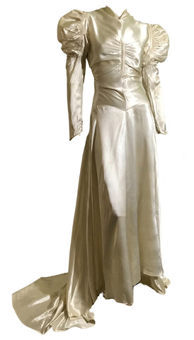 Stunning Soft White Slipper Satin Shirred Bodice High Neck Wedding Dress circa 1930s