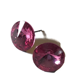Brilliant Pink Rivoli Cut Pierced Earrings circa 1960s