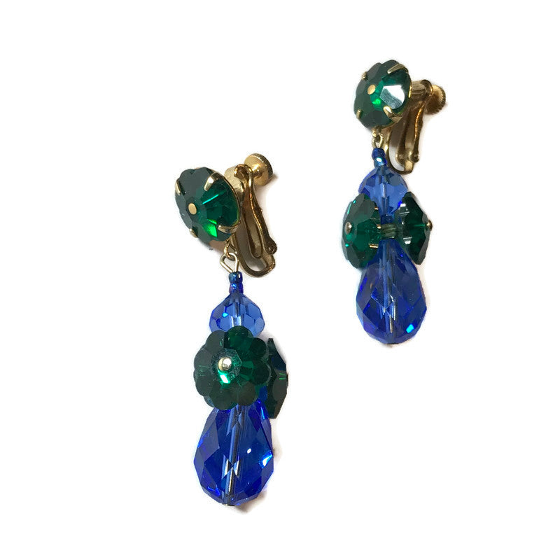 Vendome Vivid Green and Blue Crystal Dangling Clip Earrings circa 1960s
