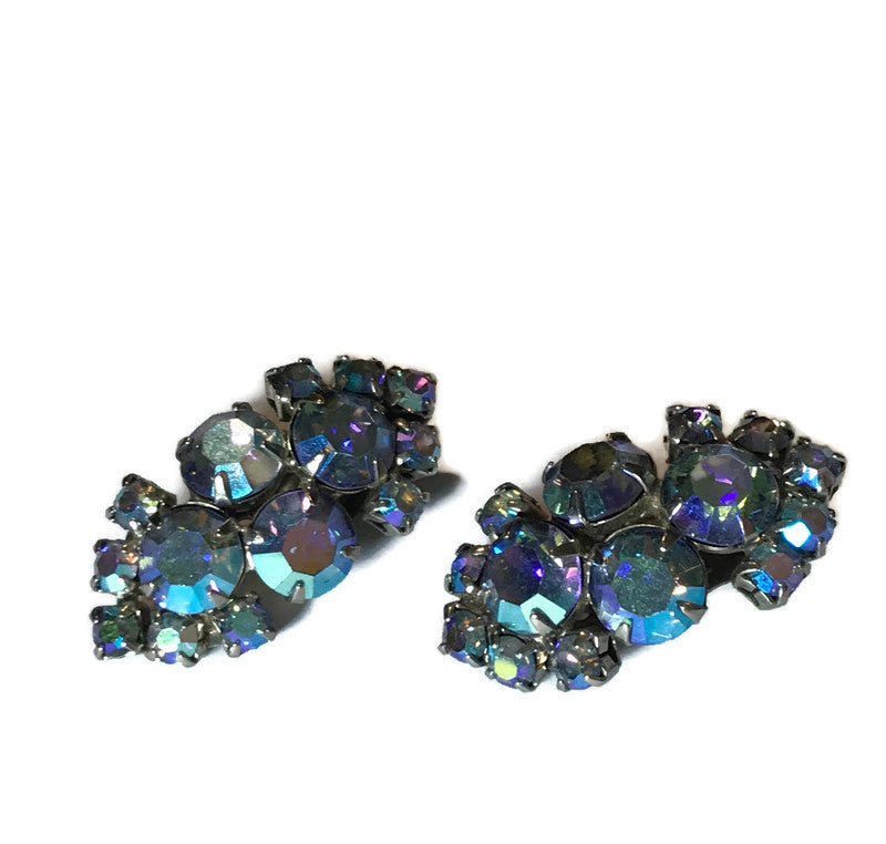 Aurora Borealis Blue Crystal Clip Earrings circa 1960s
