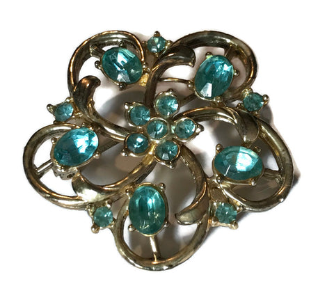 Aqua Rhinestone Scalloped Brooch circa 1960s