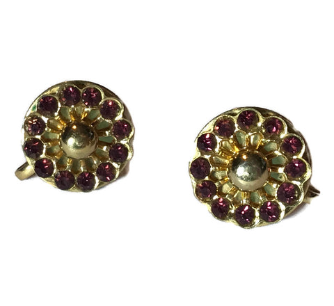 Purple Rhinestone Disc Clip Earrings circa 1940s