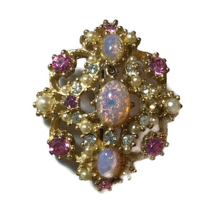 Iridescent Pink Opal and Rhinestone Brooch circa 1960s