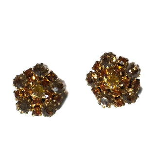 Topaz Colored Austrian Crystal Clip Earrings circa 1960s