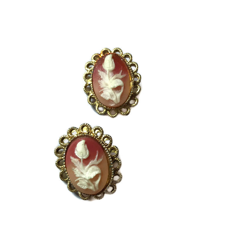 Sweetest Rose Carved Cameo Style Clip Earrings circa 1960s