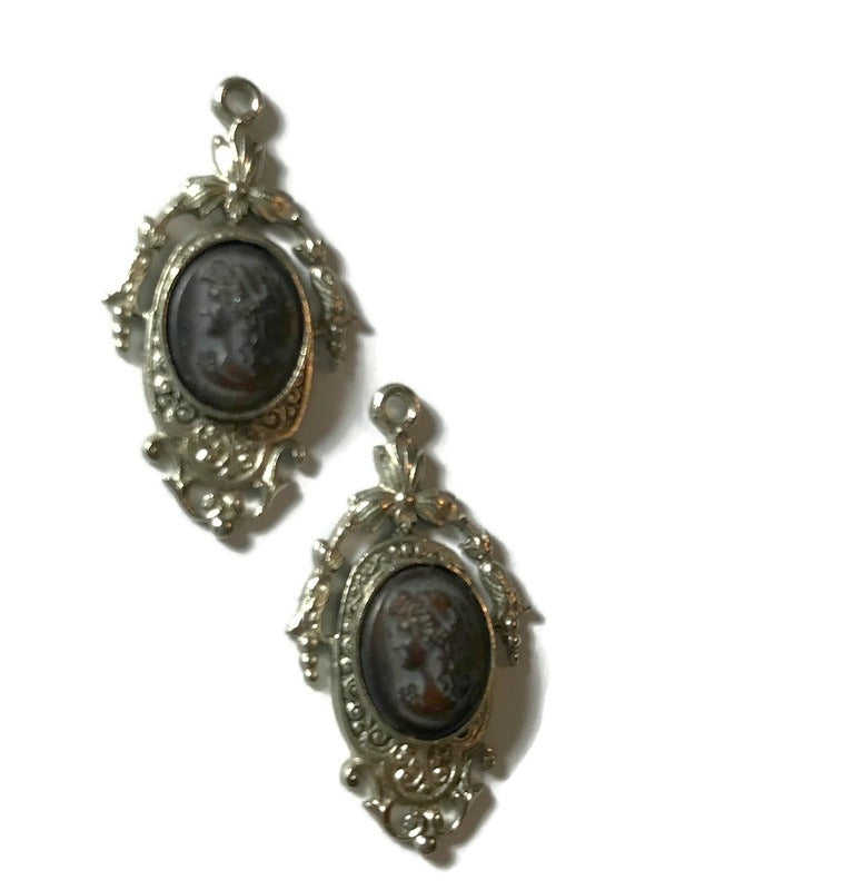 Black Cameo Style Portrait on Sterling Silver Dangle Earrings Pendants circa 1940s