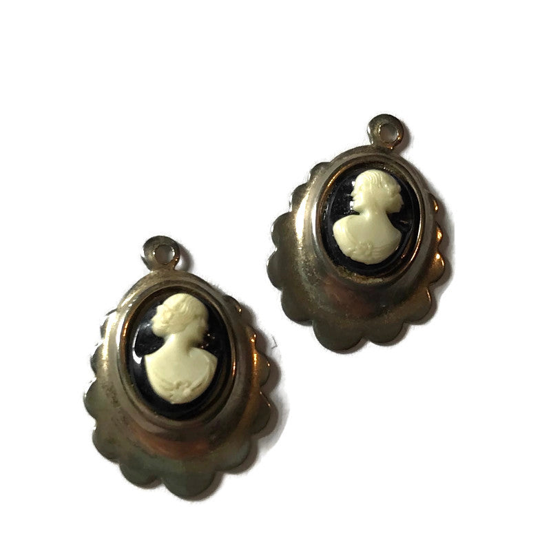 Black & White Cameo Style Portrait on Sterling Silver Dangle Earrings Pendants circa 1940s