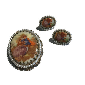 Baroque Courting Couple Statement Brooch and Clip Earrings circa 1960s
