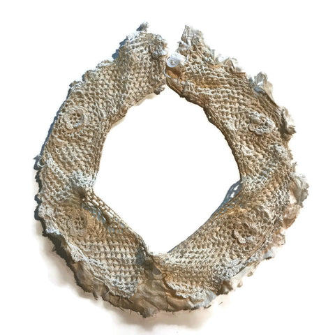 Ivory Flower Design Crocheted Collar circa 1910s