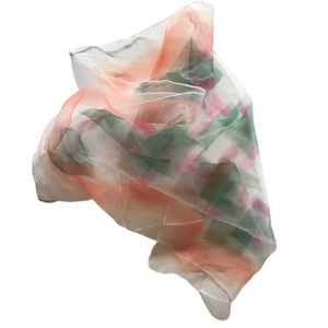Tangerine and Green Abstract Geo Watercolor Print Scarf circa 1950s