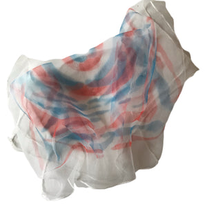 Red White and Blue Target Design Square Sheer Chiffon Scarf circa 1950s