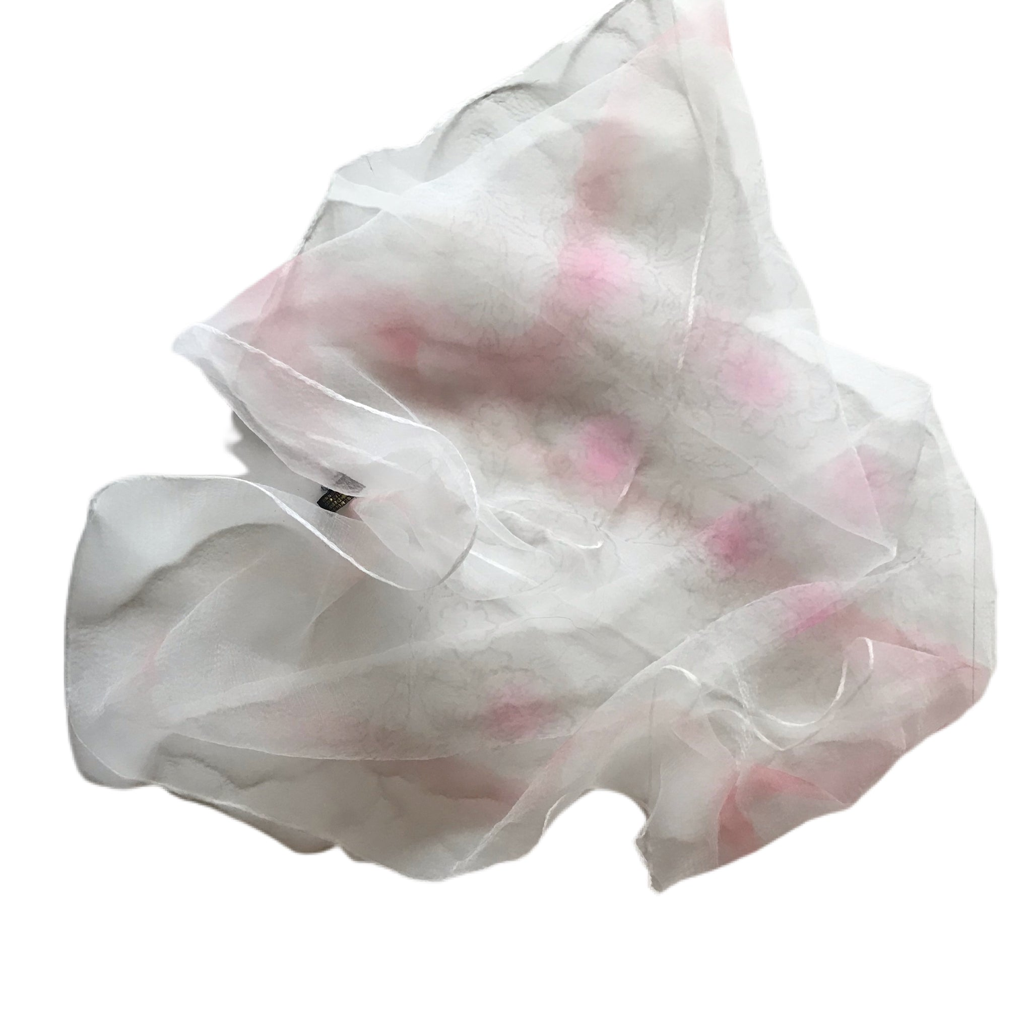 Pink and White Flowers Square Chiffon Scarf circa 1950s