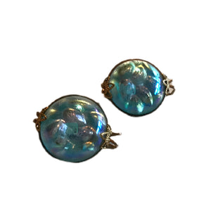 Azure Blue Bubble Glass Clip Earrings circa 1960s