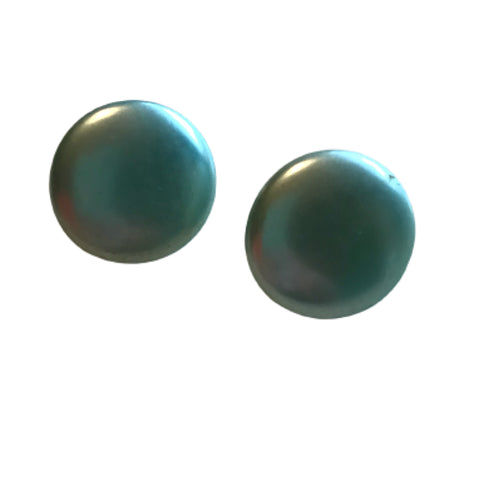 Pearlized Aqua Blue Disc Clip Earrings circa 1960s