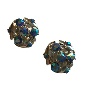 Aqua Rhinestone Silver Tone Clip Earrings circa 1960s