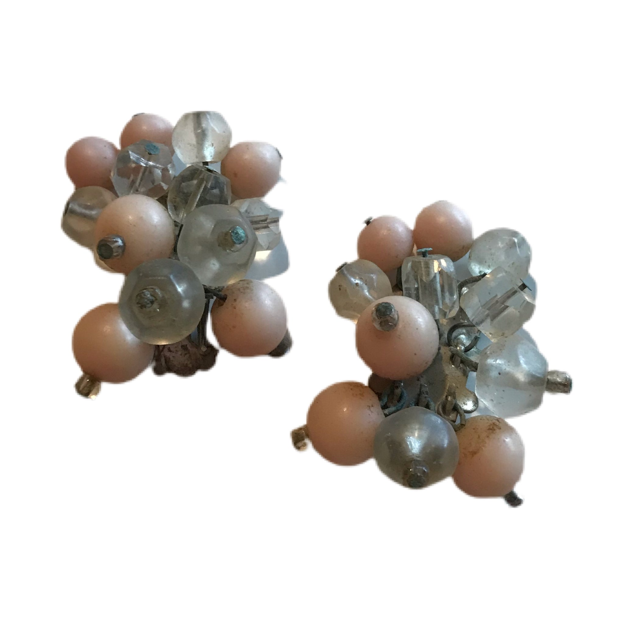 Pink and Clear Bead Cluster Clip Earrings circa 1960s