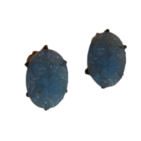 Carved Blue Floral Plastic Clip Earrings circa 1960s