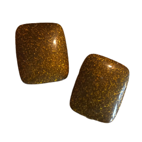 Metallic Confetti Flecked Lucite Clip Earrings circa 1960s
