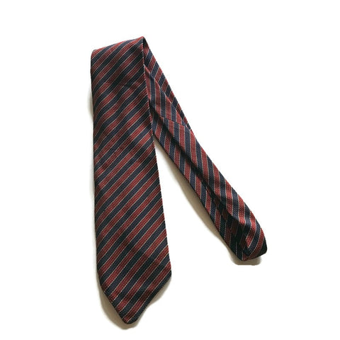 Red and Blue Silk Striped Wide Silk Tie circa 1930s