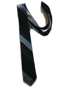 Grey Black and Blue Striped Sharkskin Skinny Tie circa 1960s