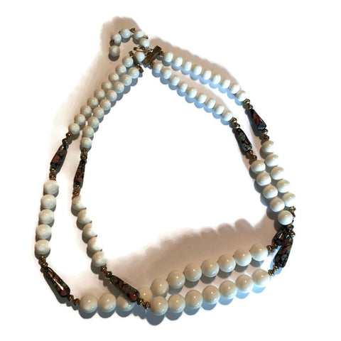 White Glass Beaded Double Strand Necklace with Cloisonne Beads circa 1960s