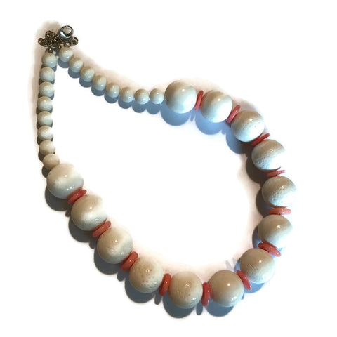 White Stone Bead Necklace with Peach Discs circa 1980s