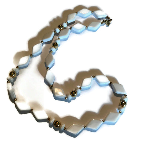 White Plastic Halequin Shaped Beaded Necklace circa 1980s
