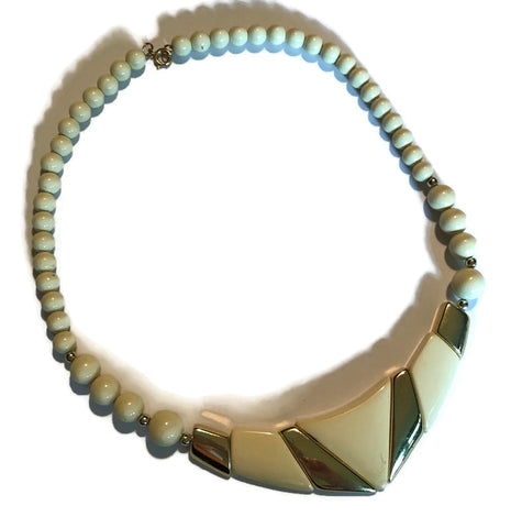 Geometric Ivory Plastic Beaded Necklace circa 1980s