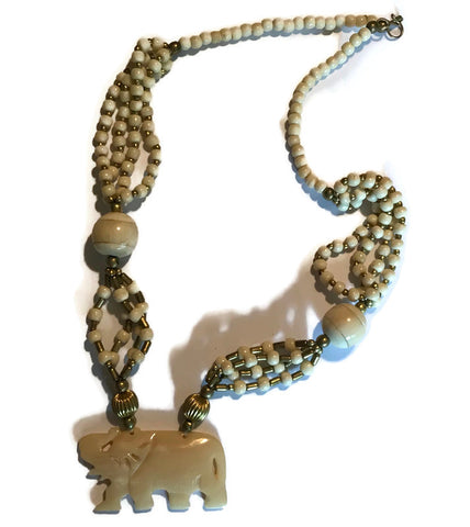 Elephant Pendant Ivory Marble Beaded Necklace circa 1980s