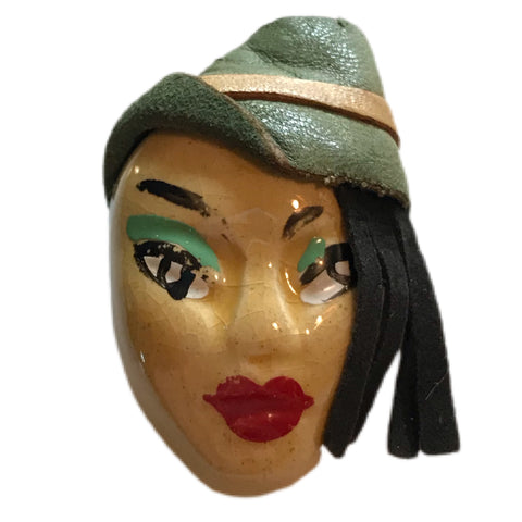 Elzac Exotic Lady Face Brooch Fringed Hair Leather Green Hat circa 1940s