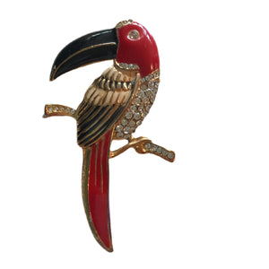 Toucan! Bold Red and Black Enameled Gold Tone Metal Toucan Brooch with Rhinestones circa 1960s