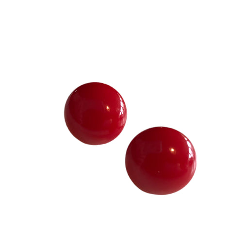 Candy Red Half Orb Bakelite Clip Earrings circa 1940s