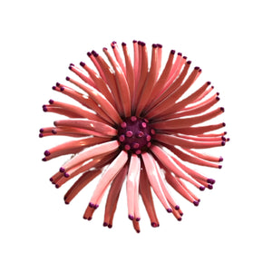 Enameled Metal Candy Pink and Purple Fringed Daisy Flower Brooch circa 1960s