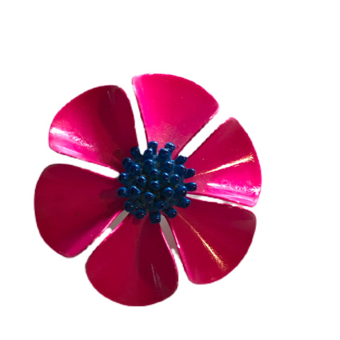 Electric Pink and Blue Poppy Flower Brooch circa 1960s